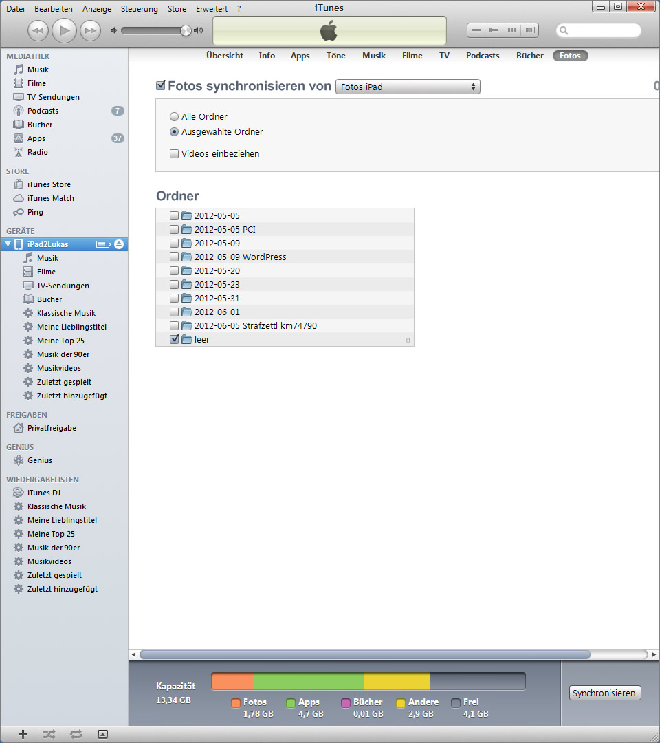 Foto vom iPad löschen Ansicht iTunes