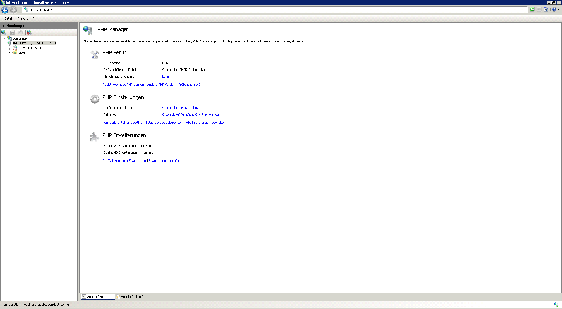 PHP Manager unter IIS 7.0
