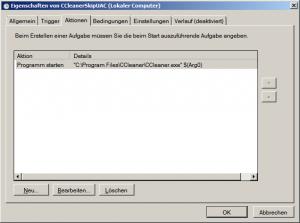 Registerkarte Aktionen Windows 7 Aufgabenplanung