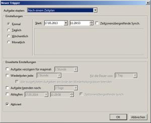 Zeit im Trigger - Aufgabenplanung Windows 7 eingeben