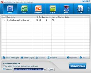 Ziehen Sie nun mithilfe von Drag & Drop das gewünschte PDF Dokument in die Programmoberfläche rein.