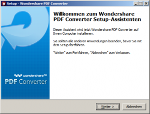 Wondershare Setup starten